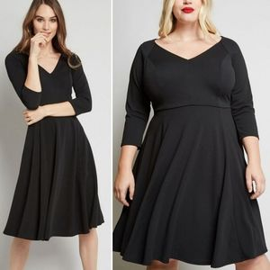 Modcloth 3/4 Sleeve Date Night Done Right Dress